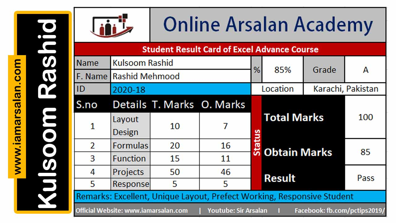 Kulsoom Rashid Excel Marksheet