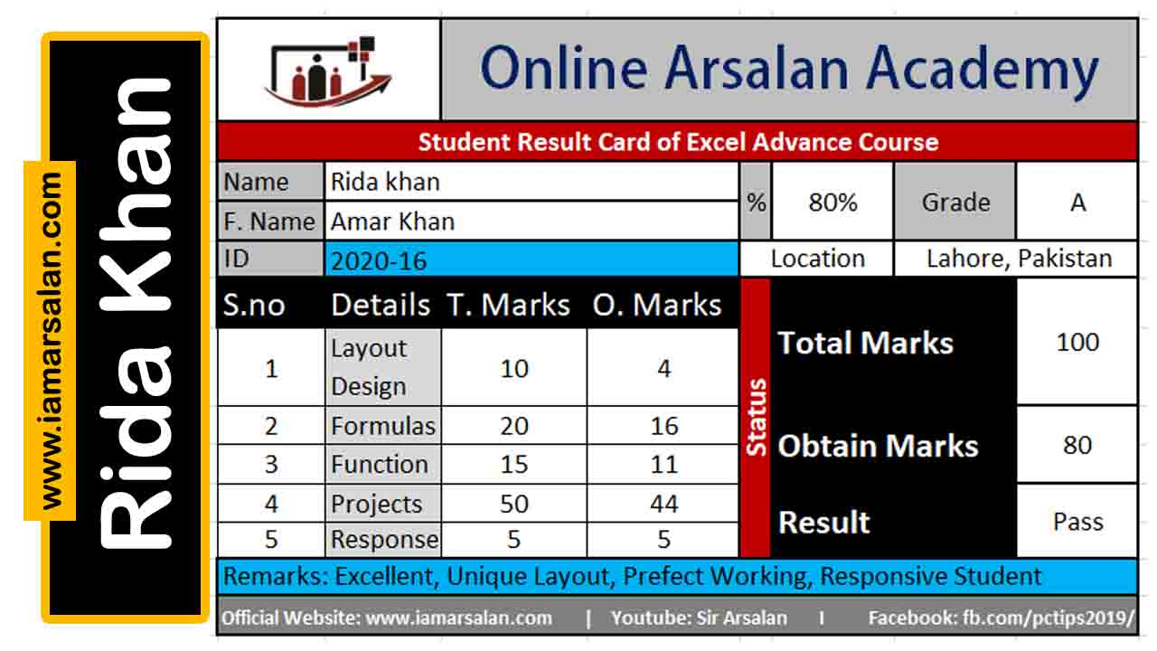 Rida Khan Result Card Excel Advance Course