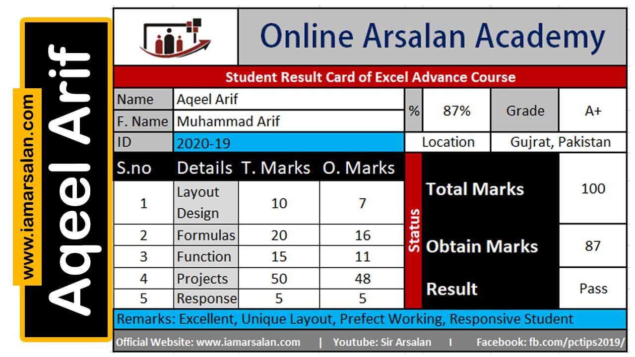 Aqeel Arif Excel Result Card