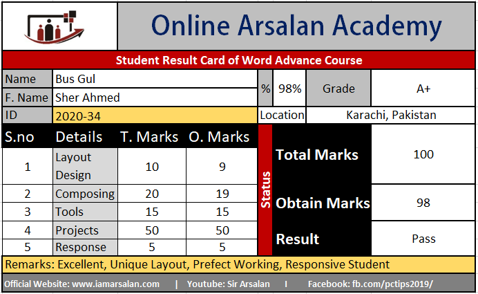 Bus Gul Result Card Ms Word Course
