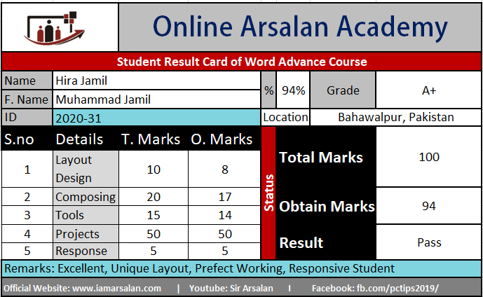 Hira Jamil Result Card Ms Word Course