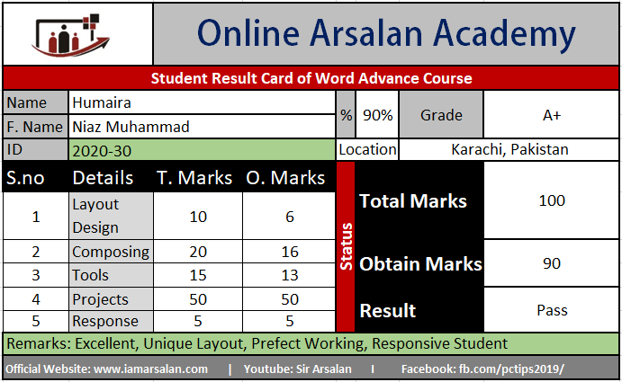 Humaira Result Card Ms Word Course