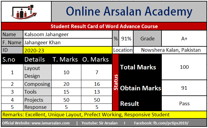 Kulsoom Khan Result Card Word Advance Course