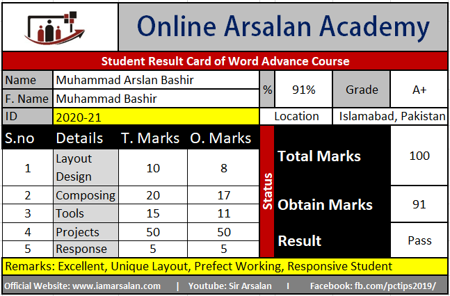 M. Arslan Bashir Result Card of Word Advance Course