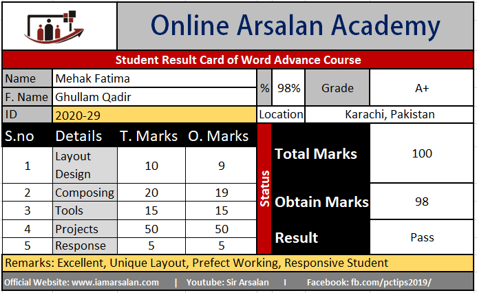 Mehak Fatima Result Card Ms Word Course