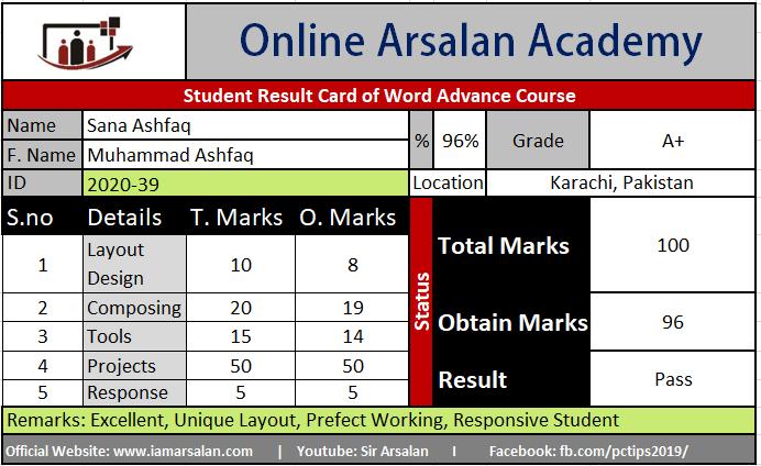 Sana Ashfaq Result Card Ms Word Course - ID 2020-39