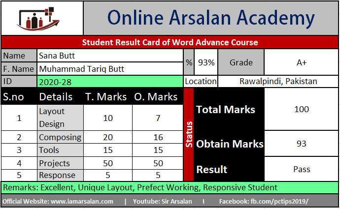 Sana Butt Result Card Ms Word Course