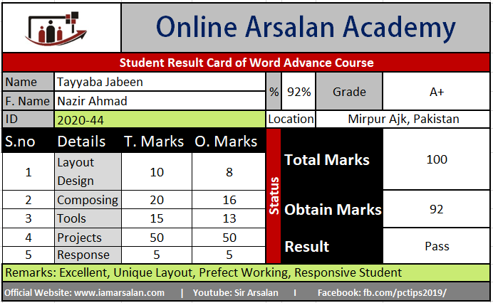 Tayyaba Jabeen Result Card Ms Word Course - ID 2020-44