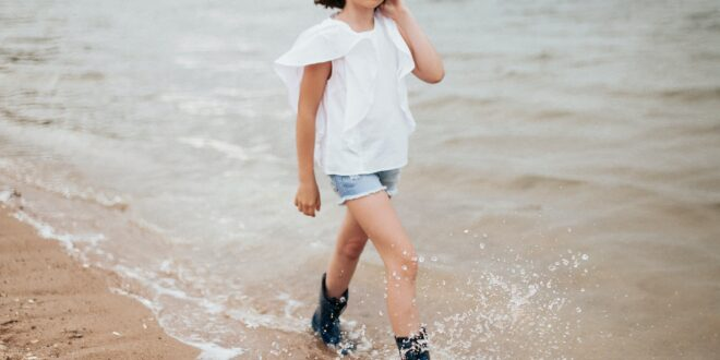 Girl in White Shirt and Blue Denim Shorts Standing on Brown Sand Near. Hd Wallpaper and Photo. Download Free Photo Girl in White Shirt and Blue Denim Shorts.
