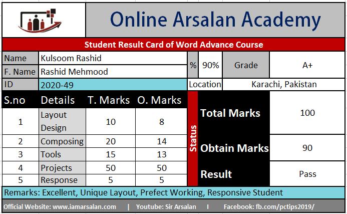 Kulsoom Rashid Result Card Ms Word Course