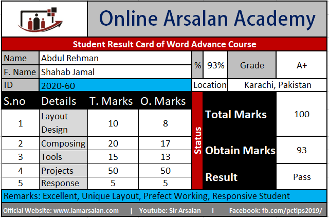Abdul Rehman Result Card Ms Word Course - ID 2020-60