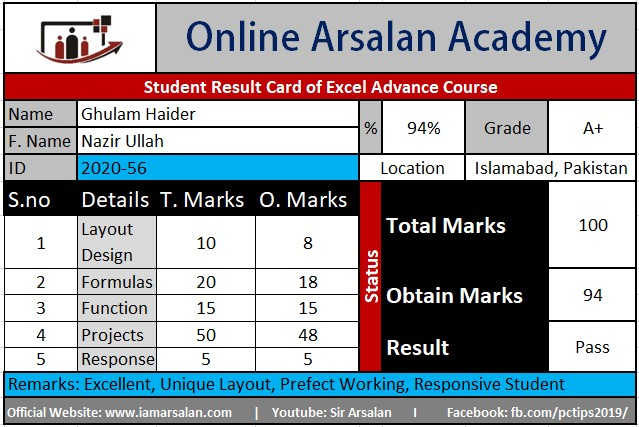 Ghulam Haider Result Card Ms Excel Course - ID 2020-56