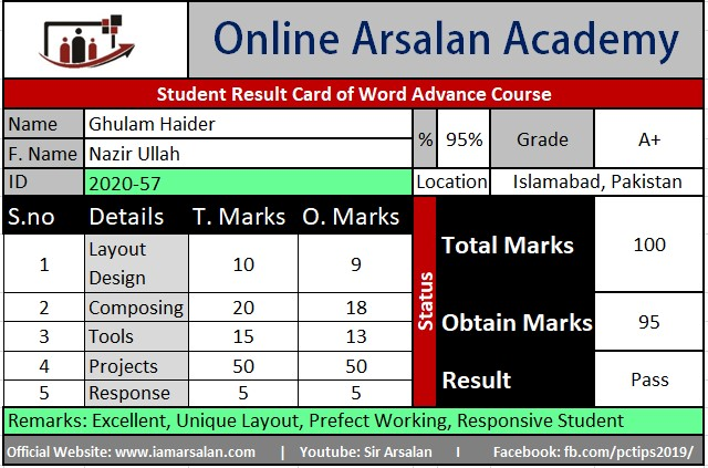 Ghulam Haider Result Card Ms Word Course - ID 2020-57