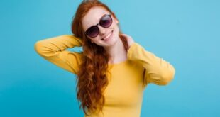 Lovely Girl with Yellow Shirt and Blue Shade Background. Girl with Yellow Shirt. Girl with Blue Shade Background.