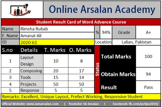 Rimsha Rubab Result Card Ms Word Course - ID 2020-61