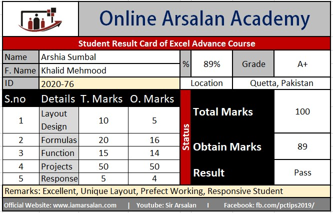 Arshia Sumbal Result Card Ms Excel Course - ID 2020-76