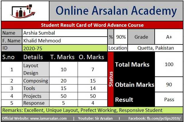 Arshia Sumbal Result Card Ms Word Course - ID 2020-75