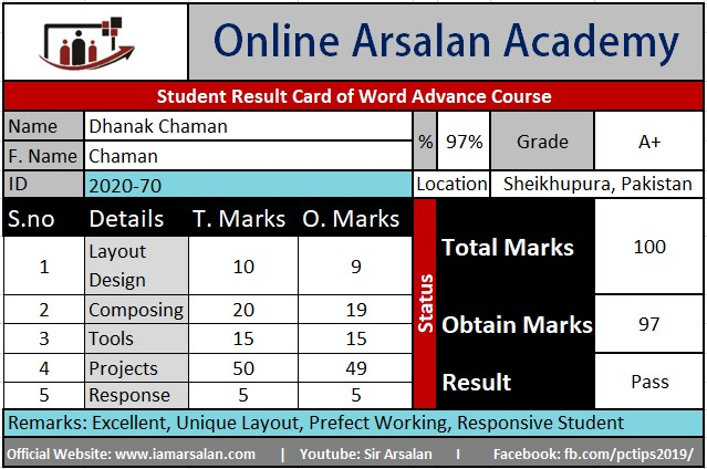 Dhanak Chaman Result Card Ms Word Course - ID 2020-70