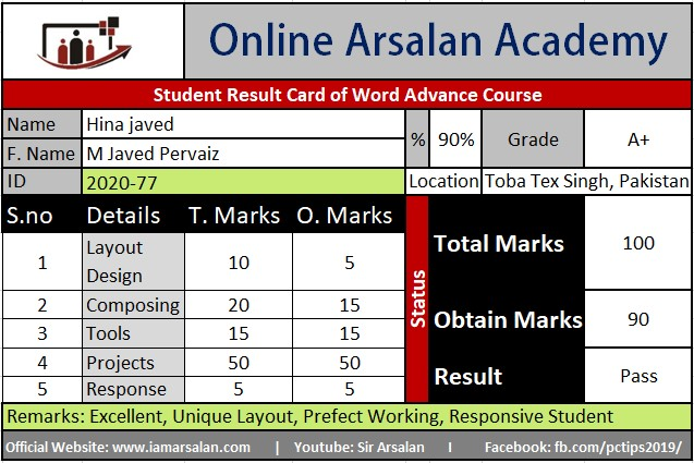 Hina Javed Result Card Ms Word Course - ID 2020-77