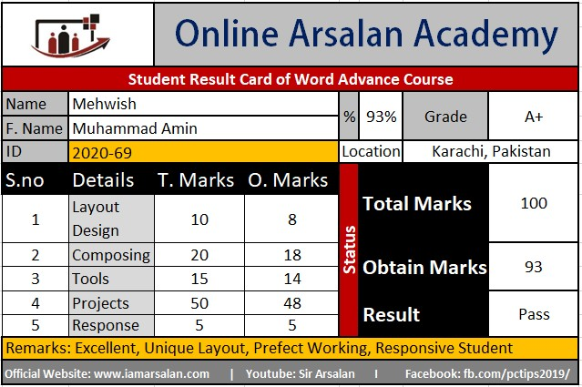 Mehwish Result Card Ms Word Course - ID 2020-69