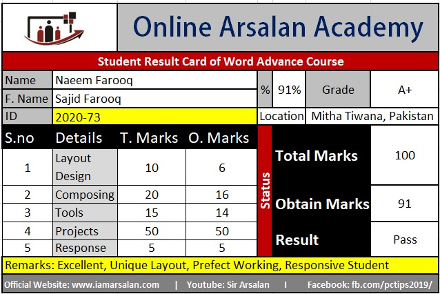 Naeem Farooq Result Card Ms Word Course - ID 2020-73