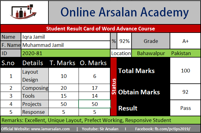 Iqra Jamil Result Card Ms Word Course - ID 2020-81