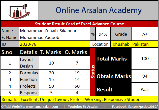 M. Zohaib Sikandar Result Card Ms Excel Course - ID 2020-78