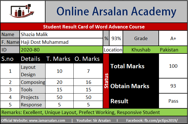 Shazia Malik Result Card Ms Word Course - ID 2020-80