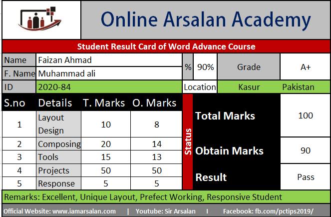 Faizan Ahmad Result Card Ms Word Course - ID 2020-84.