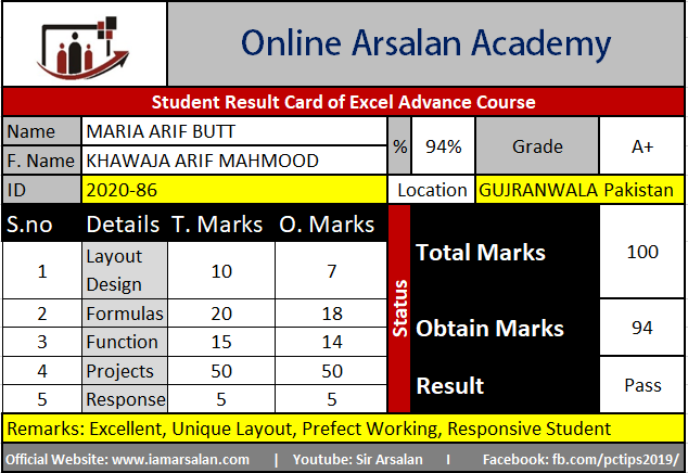 Maria Arif Butt Result Card Ms Excel Course - ID 2020-86