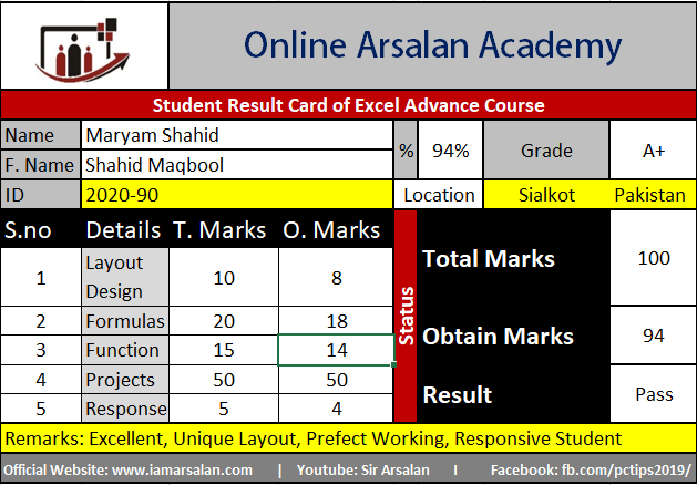 Maryam Shahid Result Card Ms Excel Course - ID 2020-90