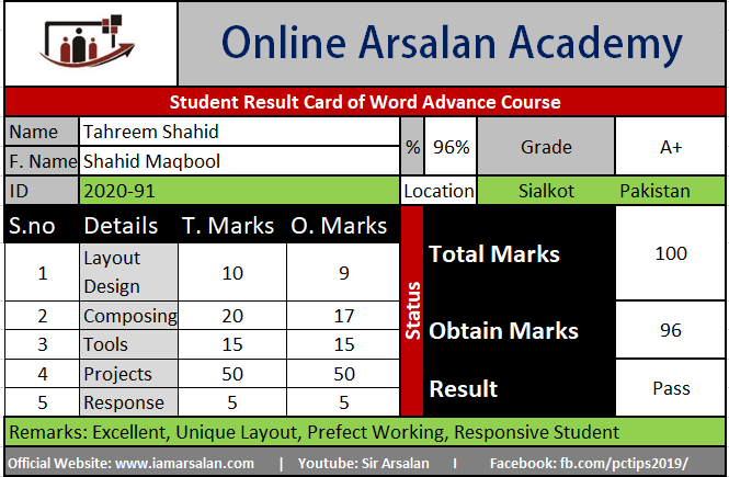 Tahreem Shahid Result Card Ms Word Course – ID 2020-90