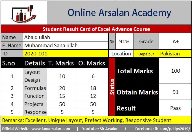 Advanced Excel Training by Sir Arsalan. ID No 2020-101, Student Name Abaid ullah, Father Name, Muhammad Sana ullah Depalpur, Pakistan