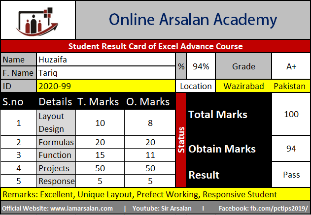 Huzaifa Result Card Ms Excel Course