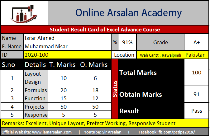Israr Ahmed Result Card Ms Excel Course – ID 2020-100