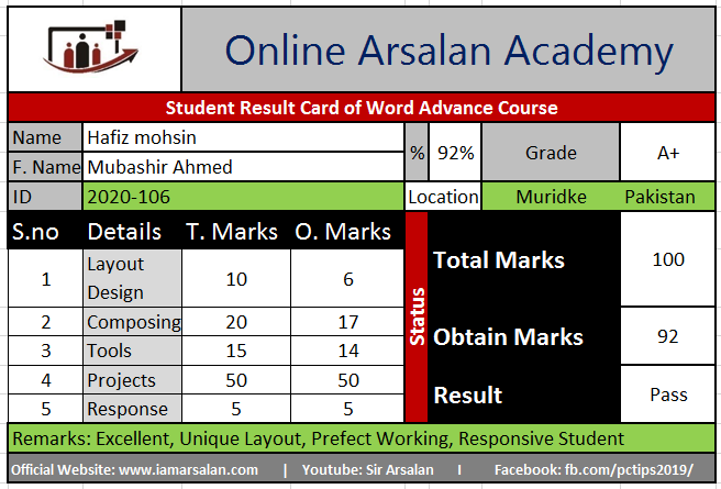 Hafiz Mohsin Result Card Ms Word Course