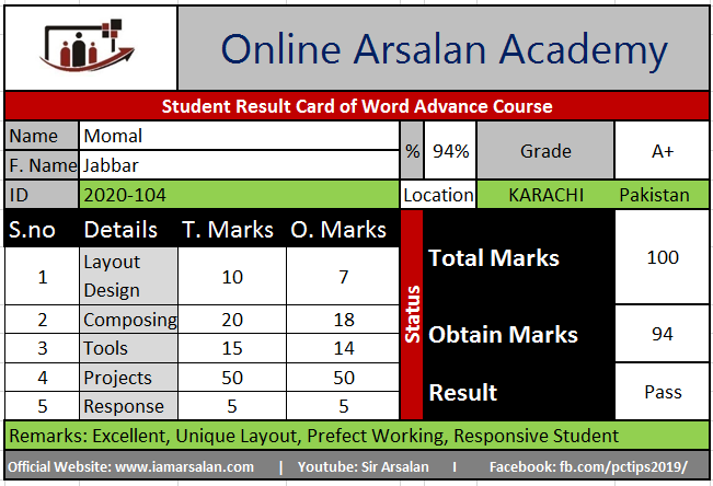 Momal Result Card Ms Word Course
